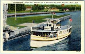 Sault Ste. Marie, Michigan Postcard Excursion Boat Bide-a-Wee Soo Locks Linen