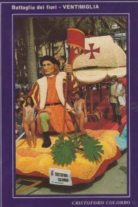 Christopher Columbus at Ventimiglia Carnival Italian 1980s Festival Postcard