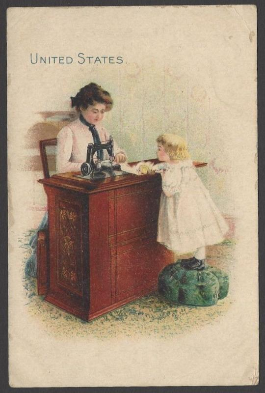 Vintage postcard size advertisement for SINGER SEWING MACHINE