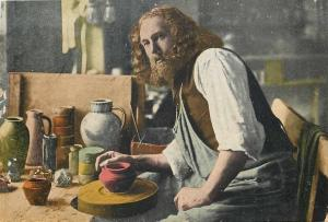 Oberammergau Passion Play Germany~Potterin Apron~Clay Creations~c1910 Postcard