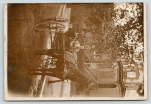RPPC Man w/Top Hat Rides w/Wife~Horse & Buggy~Italianate Flat~St Louis?*~c1910