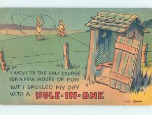 Linen comic golfing HOLE-IN-ONE - GOLFBALL SHOT INTO OUTHOUSE HOLE HJ2017