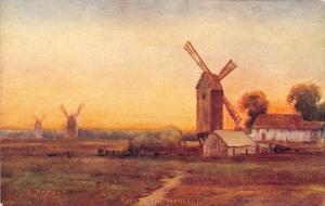 Dutch Windmills, titled  After the Harvest,  artist signed  L. Dupont