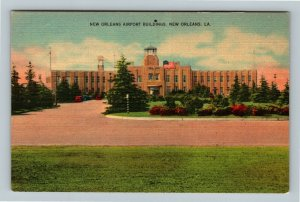 New Orleans LA, New Orleans Airport Buildings, Linen Louisiana Postcard