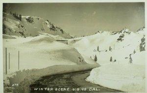 1930's-40's RPPC Winter Scene, U.S.40 Cal. Vintage Postcard P106