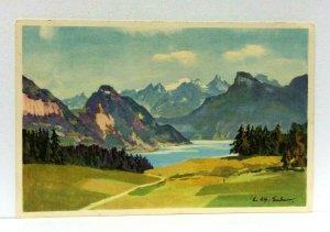 Switzerland Landscape Lake Mountains Artist Signed Stehli Vintage Postcard