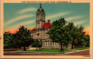 HARRISONBURG, VA  ROCKINGHAM COUNTY HOUSE c1940's Linen POSTCARD