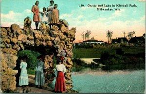 Vtg Tarjeta Postal C 1908 Gruta Y Lago En Mitchell Parque Milwaukee, Wi Nuevo