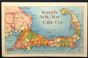 Postcard Unused Tourists Auto Map Cape Cod MA LB