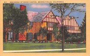 Beverly Hills California~Residence Of Actor Eddie Cantor~1940s Linen Postcard
