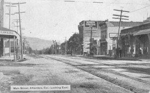 Main Street Scene ALHAMBRA, CA Furniture Store Los Angeles 1909 Vintage Postcard