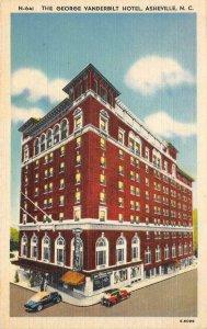 GEORGE VANDERBILT HOTEL Asheville, NC c1940s Vintage Linen Postcard