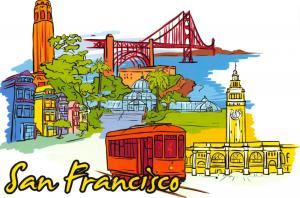 Art Postcard, San Francisco, California, USA, Landmarks, City, View, Travel 87H