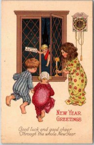 1910s HAPPY NEW YEAR Greetings Postcard Baby New Year / Children STECHER 1270C