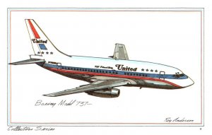 Boeing Model 737 , United Airlines ,  artist signed