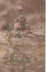 RP: Rose decorated Bi-Plane Greetings , 00-10s