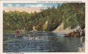 Indiana The Shades Summer Resort Bathing In Rock River Curteich