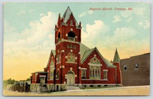 Trenton MO~Baptist Church~Stained Glass Windows~Bell Tower with Railings~
