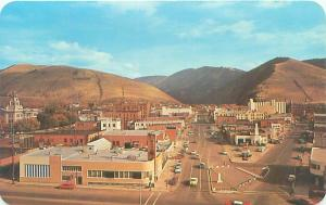 Missoula MT Main, Front  St,  Univ.of Montana View from Fox Theatre,Old Postcard
