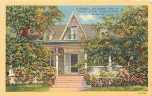 Macon Georgia~Sidney Lanier Home~Birthplace~Georgia Poet~1934 Postcard