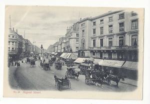 UK England London Regent Street J Beagles No. 38 Vtg Postcard Horse Carriages