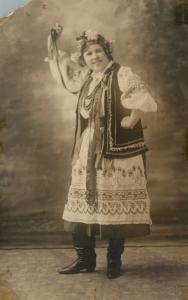 DANCER in EASTERN EUROPEAN DRESS ANTIQUE REAL PHOTO POSTCARD RPPC