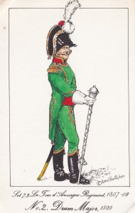 French Tours D'Auvergne Drum Major Soldier Napoleonic War Uniform PB Postcard