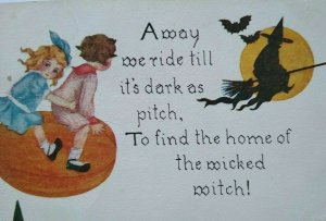 Vintage Halloween Postcard Kids Flying On Pumpkin Chases A Witch 857 FA Owen