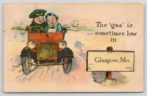 The Gas is Low in Glasgow Missouri~Cartoon Kid Couple in Auto~c1912 Pennant PC