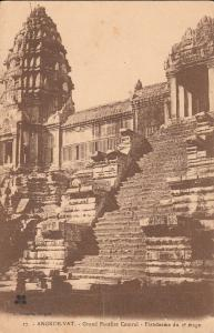 Cambodia temple Angkor Wat early postcard