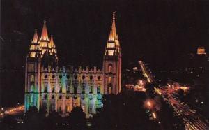Utah Salt Lake City Mormon Temple At Night