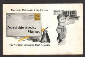 ME Vintage 1913 Pen & Ink Well NORRIDGEWOCK MAINE Postcard Dutch Boy PC