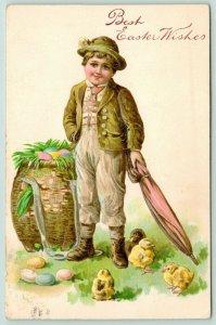PFB Easter~Victorian Alpine Boy~Chicks~Big Colored Egg Wicker Basket~Emboss~5923