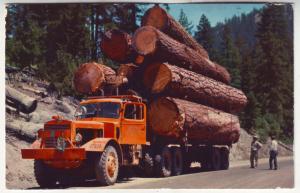 P436 JL postcard old logging truck logs