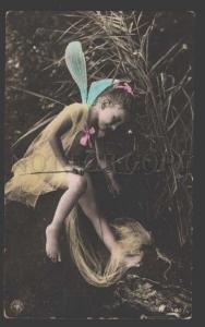 115090 Nude Winged Girl FAIRY Elf Dragonfly Old Tinted PHOTO