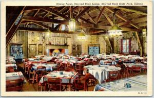 Starved Rock State Park, Illinois Postcard Lodge Dining Room View Linen 1940