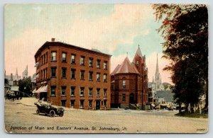 St Johnsbury Vermont~Main & Eastern Avenue~Vintage Car~Church in Distance~1912