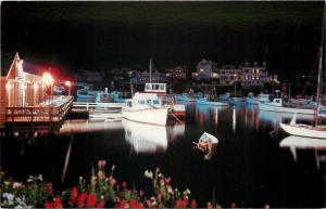 Ogunquit Maine~Perkins Cove Night Lights~Boats Reflect in Water~Docks~1960s