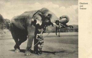 PC CPA SRI LANKA, CEYLON, ELEPHANT AND TRAINER, Vintage Postcard (b13642)