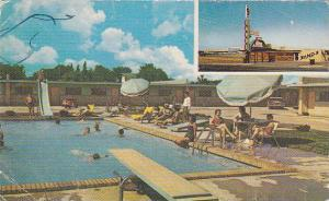 People enjoying the pool and the luxurious room features at Sands Inn, 40-60s