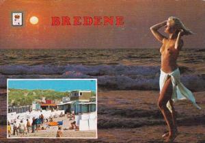 Risque Semi Nude Topless Girl On Beach Bredene Belgium