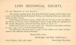 Lynn historical Society Lynn, Massachusetts, USA Postal Cards, Late 1800's 1907