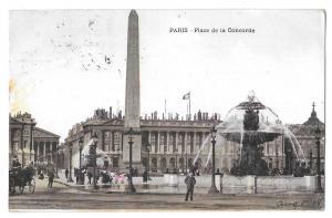 Paris France Place de Concorde Fountain Vintage Postcard