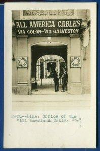 Lima Peru Office of All America Cables via Colon via Galveston Texas postcard