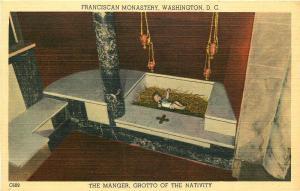 WASHINGTON DC FRANCISCAN MONASTERY THE MANGER GROTTO OF NATIVITY POSTCARD c1940s