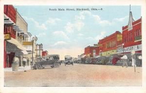 Blackwell Oklahoma~South Main Street~Regent~Drugs~1920s Vintage Cars~Postcard