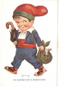 ·JINMY. Caricature. Catalan boy gping to Barcelona  Nice vintage Spanish PC