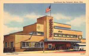 Akron Ohio Greyhound Bus Terminal Linen Antique Postcard K29740