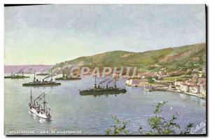Old Postcard Villeranche Villefranche Bay Ships