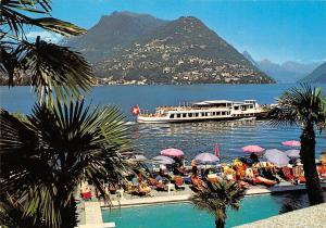 Switzerland Lugano View on Monte Bre and Motne Boglia Terrace Boat